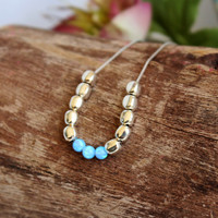 Silver Bead Necklace / Opal Bead Necklace / Bar Opal Necklace / Tiny Bead Choker / Blue Opal Necklace / Sterling Silver Beads / Opal Jewelry