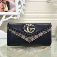 GUCCI Women Leather With Metal Chain Purse Wallet H-MYJSY-BB One-nice™