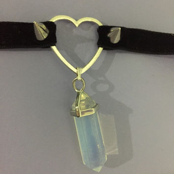 heart crystal choker
