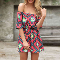 Off-Shoulder  Strapless Geo Pattern Blouson Half Sleeve Pleated Rompers