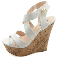 Crisscrossing Platform Wedge Sandals by Charlotte Russe - White