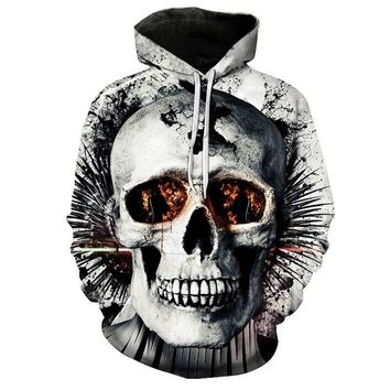 Cracked Skull Head Fire In Eyes All Over Print Hoodie Sweater