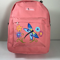 Dragonfly and Flowers Coral Everest Backpack Hand Painted