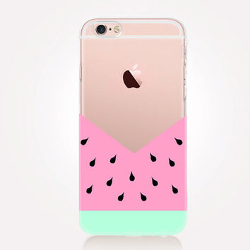 Transparent Watermelon iPhone Case - Transparent Case - Clear Case - Transparent iPhone 6 - Gel Case - Soft TPU Case - Samsung S7