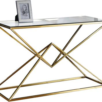 Vanessa Glass Console Table Gold Stainless Steel
