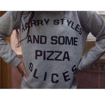 harry styles and some pizza slices grey sweatshirt unisex women men sweater jumper