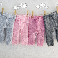 Knit Newborn Pants / Baby girl pants / Newborn Photo props / Knitted Baby pants / Twins