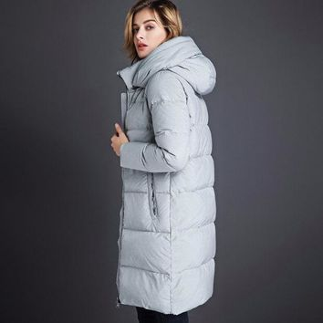 DCCKL3Z 2016 long section of thick down jacket women XL loose, casual hooded down jacket warm coat high quality