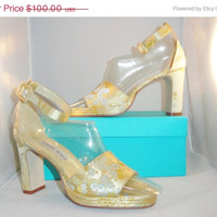 SALE Vintage Shoes 90s Platform High Heels Asian Oriental Champagne Floral Brocade Satin Heels Ankle Strap Size 8 Deadstock Unworn