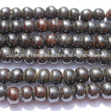 20 beads - 8mm Tibetan Black Bone Beads - Tibetan Beads - Mala Making Supplies - LPB79-20