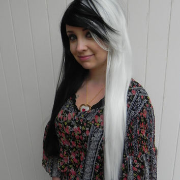 ON SALE // Cuella / Black and White / Extra Long Straight Wig, Split, Two Tone, Cosplay, Halloween