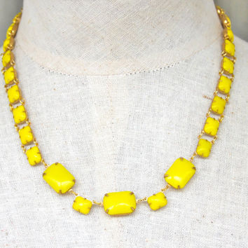 Vintage Yellow Glass Bead Rectangle Square Glass Stone Gold Kate Spade Inspired Vintage Statement Necklace - Bridesmaid, Wedding