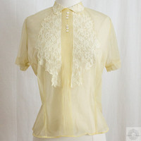 Vintage Yellow Blouse - 1940's 1950's -  Chiffon / Lace Sheer Top // Diane Young Designer
