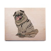 """Pom Graphic Design """"A Happy Pug"""" Beige Teal Animals Abstract Illustration Vector Birchwood Wall Art"""