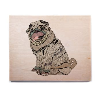 "Pom Graphic Design ""A Happy Pug"" Beige Teal Animals Abstract Illustration Vector Birchwood Wall Art"