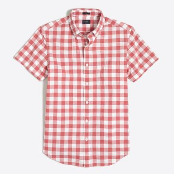 Slim short-sleeve homespun shirt