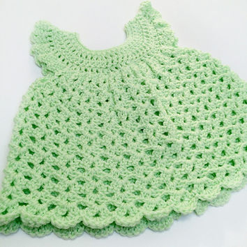 FREE SHIPPING - Newborn Crochet Pinafore, Dress - Mint, Green, Light Green