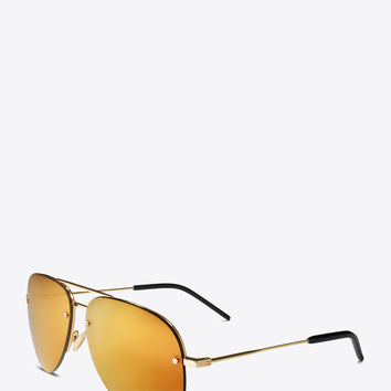monogram m11 sunglasses in shiny gold and gold metal with bronze mirrored lenses