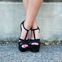 To The Limit Black T-Strap Wedges