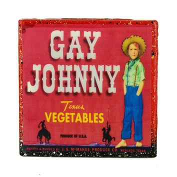 Gay Johnny - Vintage Citrus Crate Label - Handmade Recycled Tile Coaster