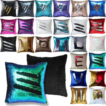 Reversible Sequin Mermaid Sequin Pillow Magical Color Changing Throw Pillow Cover Home Decor Cushion Cover Decorative Pillowcase