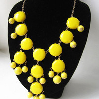 yellow bubble necklace,holiday party,bridesmaid gifts,Beaded Jewelry,wedding necklace,turquoise necklace,statment necklace