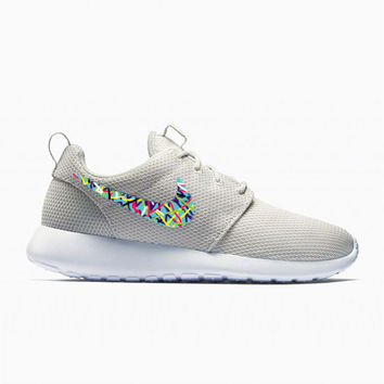 Womens Custom Nike Roshe Run shoes, Abstract painting design, colorful minimalistic, teal with lines abstract design, white bone