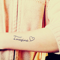 2pcs LOVE IMAGINE - InknArt Temporary Tattoo Set - pack tattoo quote wrist ankle body sticker anchor fake tattoo
