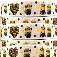 Despicable ME on White  Printed Grosgrain Sewing Craft Ribbon