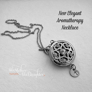 Aromatherapy Jewelry - Essential Oil Diffuser Locket - Essential Oil Diffuser Necklace - Stainless Steel Locket with Hand Stamped Cross