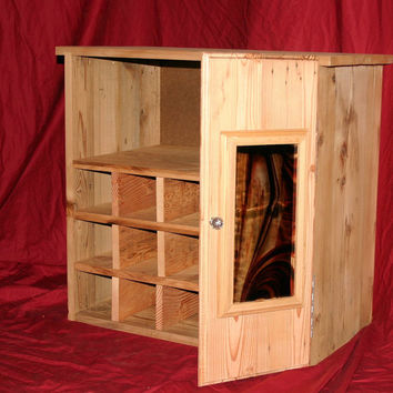 Reclaimed Custom Antique Barn Wood Wine Storage Cabinet Rack With Glass Holder With Stained Glass Door,Shelf TV Stand And Much More