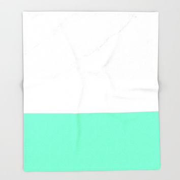 Marble White Mint Throw Blanket by ARTbyJWP