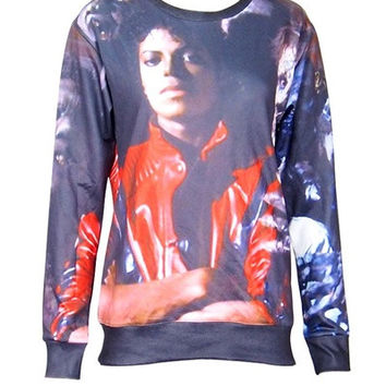 Fashion Women's Cartoon 3D Print Michael Jackson Sweatshirt Pullovers Hoodies Hippers = 1932208452