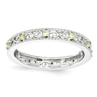 Sterling Silver Stackable Expressions Peridot Filigree Ring