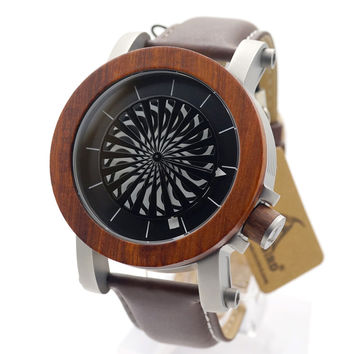 Antique Kinetic Art Mechanical Skeleton Watch With Ebony Rosewood Waterproof Leather band