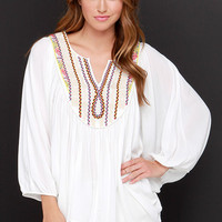Suddenly I Gypsy Ivory Embroidered Top