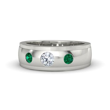 Men's Round Emerald Platinum Ring with Diamond | Trinity Ring | Gemvara