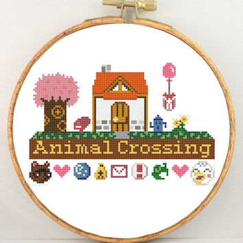 Animal Crossing home original design cross stitch pattern PDF
