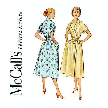 1950s Vintage Sewing Pattern Wrap Dress Bust 32 McCalls 9002 Mid Century Brunch Coat, Wrap Robe with Wing Cuffs and Shawl Collar Easy To Sew