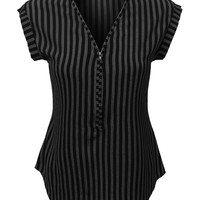 LE3NO Womens Sleeveless Striped Front Zip Up Blouse Top (CLEARANCE)