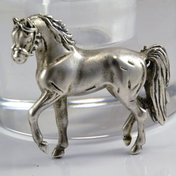 Sterling Horse Brooch - Carol Felley Artist Signed - 3 Dimensional  Arabian Horse - 1991