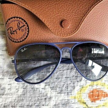 Kalete Cool Opaque Blue Rayban aviator sunglasses with case