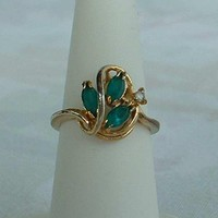 PAD signed Emerald Green Navette Rhinestone Ring 18KT GE Size 6 Vintage Jewelry