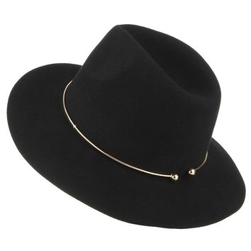 ef394307282d5 2017 New Women Wool Fedoras With Metal Ring Wide Brim Panama Hat