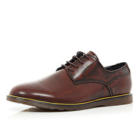 Brown yellow trim round toe shoes - shoes / boots - sale - men