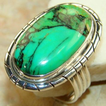 Natural Green Turquoise Solid 925 Silver Ring