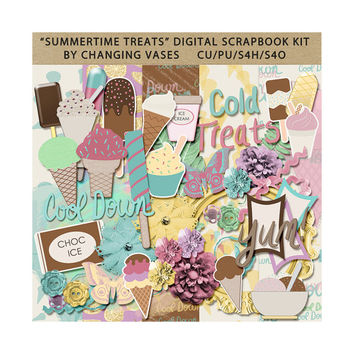 Summertime Treats Digital Scrapbook Kit, Summer Clipart, Ice Cream Clip Art, Pastel Yellow, Pink, Purple, Mint Green, Blue