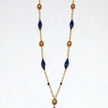 Lapis Lazuli Necklace - Jewelry Set - Necklace Earrings - Blue and Gold - 14Kt Gold Fill - AGOriginals - OOAK Original