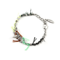 Electric Dream Crystal & Spike Bracelet W/ Thread Details - Crystal/ Green Yellow Multi