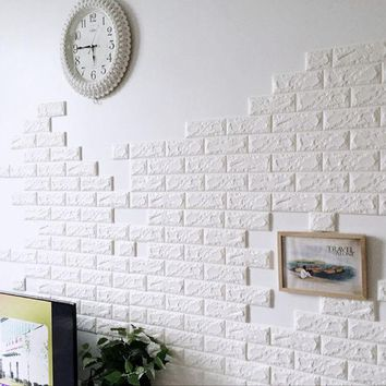 DCCKL72 PE Foam 3D Wall Stickers Wallpaper Safety Home Decor DIY Wall Decor Brick  Living Room Kids Bedroom Self-Adhesive Poster Sticker